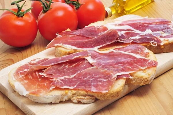 pan con aceite y jamon